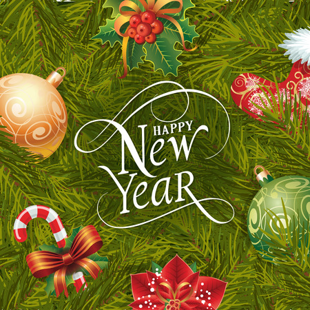 Happy New Year lettering. New Year Day greeting card with fir tree twigs, mistletoe, balls and candy cane. Typed text. For greeting cards, posters, leaflets and brochures.