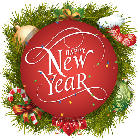typed: Happy New Year lettering in circle. New Year Day greeting card with fir tree twigs, mistletoe, balls and candy cane. Typed text. For greeting cards, posters, leaflets and brochures.