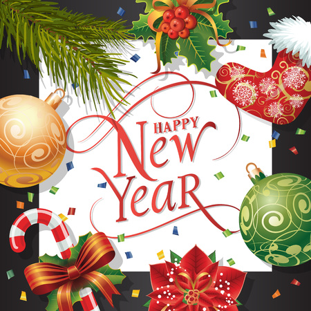 typed: Happy New Year lettering in square. New Year Day greeting card with fir tree twig, mistletoe, balls and candy cane. Typed text. For greeting cards, posters, leaflets and brochures.