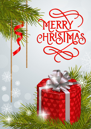 spruce thread: Merry Christmas lettering with swirl elements. Merry Christmas inscription with present box, fir sprigs, snowflakes. Holiday concept. Calligraphy can be used for postcards, banners, posters