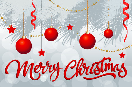 sprig: Christmas calligraphic lettering. Merry Christmas inscription with fir sprig decorated with red Christmas balls, ribbons, strings of beads. Handwritten text can be used for postcards, banners, posters Illustration