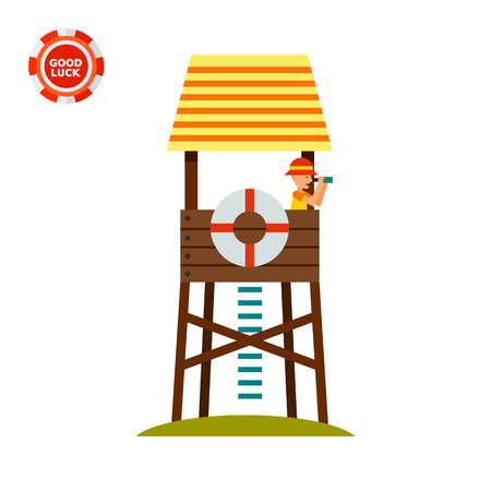 Lifeguard tower with beach-rescuer watching in binoculars. Sea, beach, safety. Lifeguarding concept. Can be used for topics like summer, vacation, resorts. Illustration