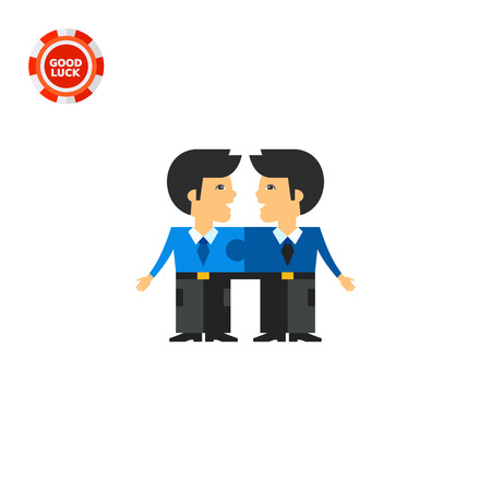 cohesion: Two men connected like puzzle elements and talking to each other. Cooperation, unity, efficiency. Team cohesion concept. Can be used for topics like business, management, banking. Illustration
