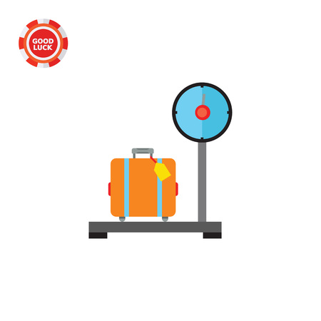 Illustration of suitcase with tag standing on big scales. Luggage on scales, airport, control. Luggage concept. Can be used for topics like airport, travelling, luggage