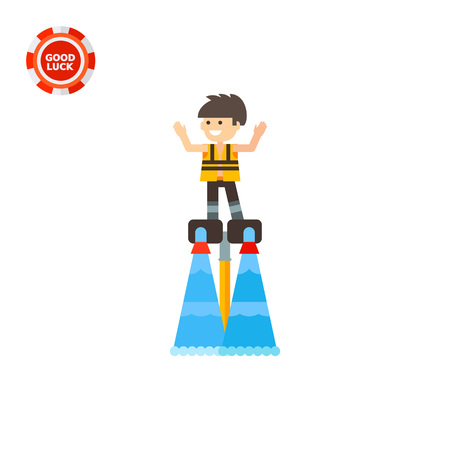 air pressure: Young man standing on flyboard. Extreme, fun, water. Flyboard concept. Can be used for topics like sport, health, recreation.