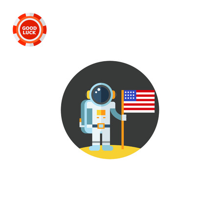 Man on moon holding USA flag. Astronaut, surface, exploration. Space concept. Can be used for topics like astronomy, technology, science.