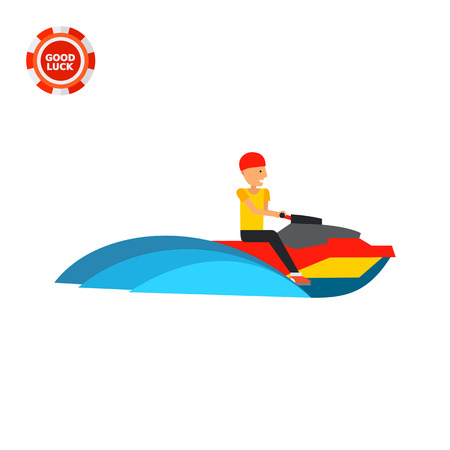 personal watercraft: Man riding jet ski watercraft. Fun, sea, extreme. Jet ski concept. Can be used for topics like sport, health, water transport.