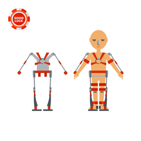 Exoskeleton and man wearing exoskeleton. Improvement, future, strength. Exoskeleton concept. Can be used for topics like military technology, electronics, science, medicine, robotics. Illustration