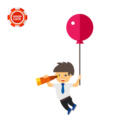 business flying: Illustration of man flying with balloon and looking through spyglass. Flying, spying, searching for business ideas. Searching concept. Can be used for topics like business ideas, search, flight