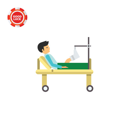 Man with broken leg lying on gurney. Hospital, plaster, pain. Fracture concept. Can be used for topics like medicine, health, healthcare. Illustration