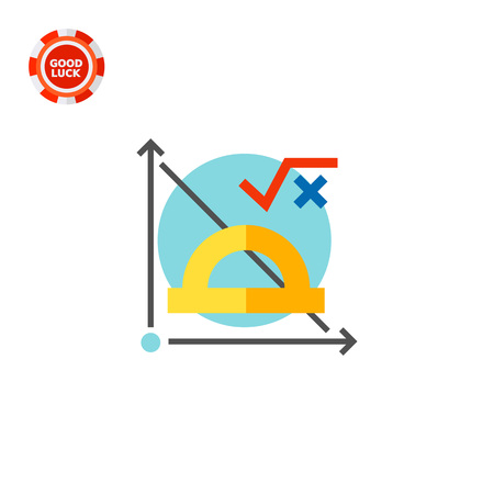 Graph, protractor and math formula on blue circle background. Subject, function, coordinate plane. Math formula concept. Can be used for topics like study, teaching, education, mathematics.