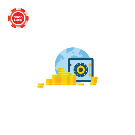 technology transaction: Earth globe, stacks of coins, tablet screen with safe. Money, Internet, transaction. M-banking concept. Can be used for topics like finance, business, technology, banking.