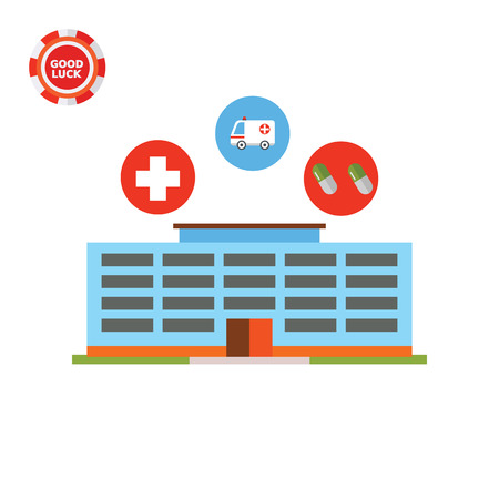 car care center: Building, cross, ambulance car, pills. Hospital, treatment, diagnostics. Medical center concept. Can be used for topics like medicine, health, healthcare. Illustration