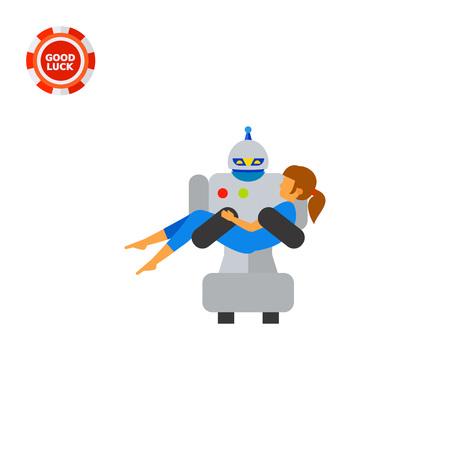 futuristic woman: Robot carrying woman. Saving, futuristic, intelligence. Robot concept. Can be used for topics like technology, electronics, mechanics, medicine. Illustration