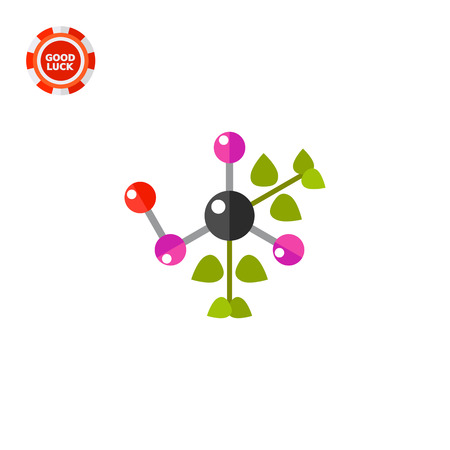 natural science: Molecule with green leaves. Natural science, molecular structure, education. Natural science concept. Can be used for topics like science, education, ecology, knowledge Illustration