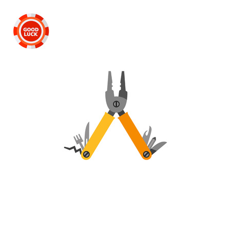 unscrewing: Folding multi tool. Pliers, can opener, fork, two blades, screwdriver, corkscrew. Multi tool concept. Can be used for topics like instrument, camping, tourism