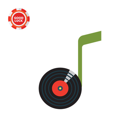 Note vinyl disk. Sound, record, listening. Music concept. Can be used for topics like music, entertainment, technology. Illustration