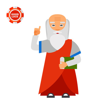 Elderly person with book and finger up. Wisdom, knowledge, experience. Wisdom concept. Can be used for topics like old people, knowledge, age