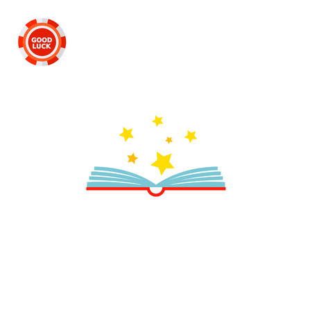 Open book with stars above it. Knowledge, learning, imagination. Reading concept. Can be used for topics like literature, study, education.