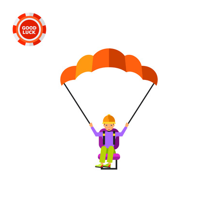 paragliding: Male character with paraglider. Flying, paragliding, extreme sport, leisure activity. Searching concept. Can be used for topics like entertainment, extreme sport, paragliding