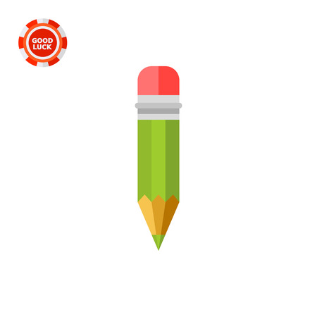 Green wooden pencil with red eraser. Drawing, writing, study. Pencil concept. Can be used for topics like study, teaching, education.