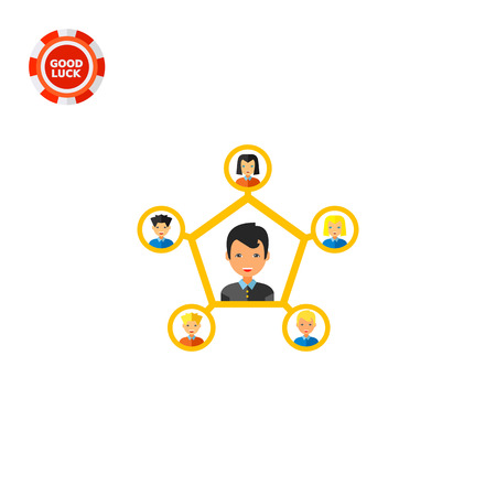 Young man connected to five other people. Relationships, team, partnership. Personal connection concept. Can be used for topics like business, management, partnership, recruitment. Illustration