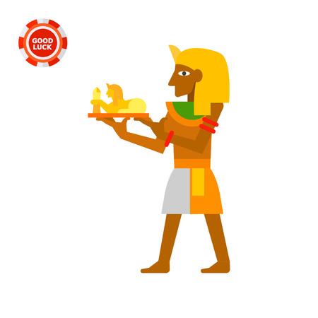 tutankhamen: Pharaoh with sphinx statuette. Authority, Tutankhamen, ancient. Egypt concept. Can be used for topics like Egypt, mythology, history.