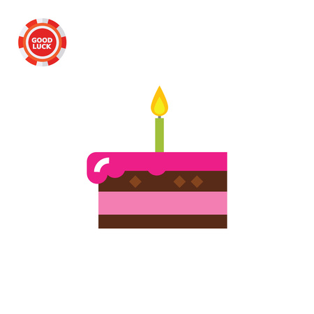 confectionery: Piece of cake with burning candle. Sweet, party, dessert. Cake concept. Can be used for topics like cooking, confectionery, food.