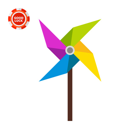 pinwheel toy: Pinwheel illustration. Toy, childhood, playing, windmill. Toy concept. Can be used for topics like toys, childhood, leisure activity