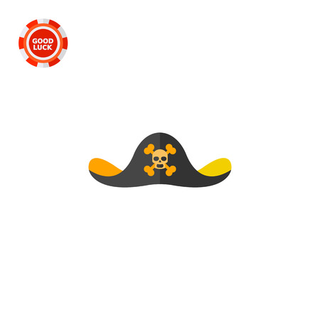 Pirate hat with skull emblem. Ancient, danger, sea. Headwear concept. Can be used for topics like fashion, clothing, history. Illustration