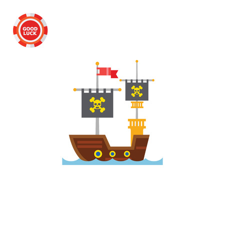 shipbuilding: Pirate ship. Skull, adventure, old. Ship concept. Can be used for topics like shipbuilding, culture, history.