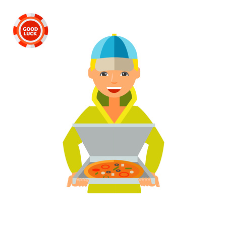 Boy holding pizza in open box. Service, order, food. Ordering food concept. Can be used for topics like delivery, cooking, business.