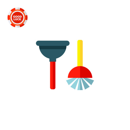 Plunger and toilet brush. Domestic, housework, bathroom. Cleaning concept. Can be used for topics like housekeeping, cleaning, marketing.