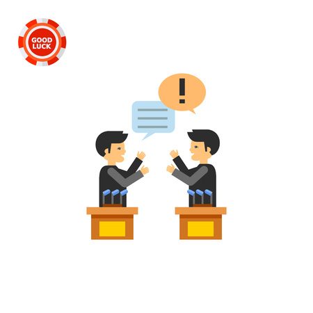 sociology: Two male characters in political debates. Emotions, argument, opinion. Debates concept. Can be used for topics like politics, communication, sociology. Vectores