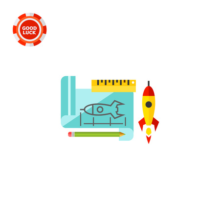 Paper sheet with rocket draft and ruler, pencil and real rocket behind it. Sketch, innovation, creativity. Prototype concept. Can be used for topics like programming, designing, technology.