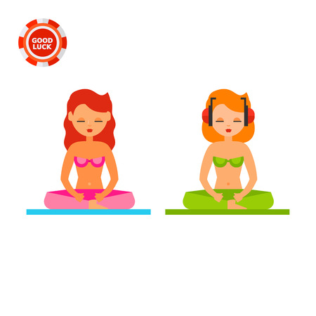 beach closed: Illustration of two women sitting in lotus position on beach. Relaxing on beach, yoga, meditation. Relaxing on beach concept. Can be used for topics like vacation, relaxing, meditation Illustration