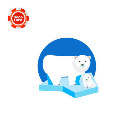 Polar bear and its cub on ice floe. Snow, cold, predator. Polar bear concept. Can be used for topics like nature, north, zoology.