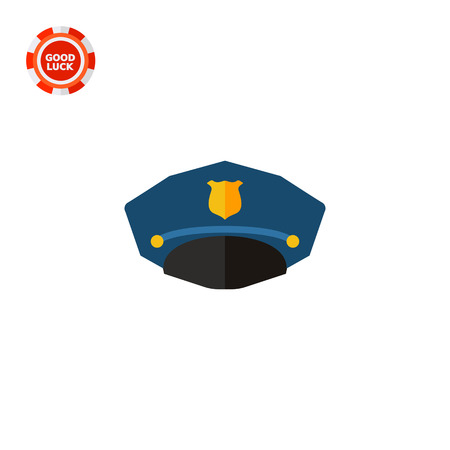 headwear: Police cap. Uniform, protection, profession. Headwear concept. Can be used for topics like fashion, clothing, police, marketing.
