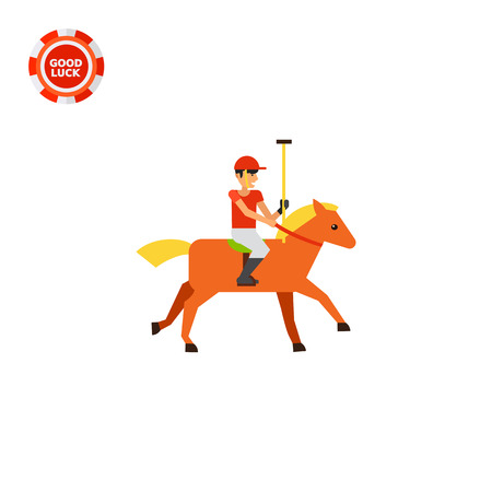 Polo sport player in red uniform riding brown horse. Competition, animal, control. Polo sport concept. Can be used for topics like sport, health, polo sport.