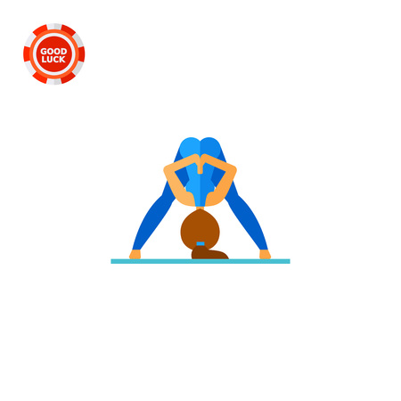 Woman doing yoga in prasarita pose and pressing palms together behind her back, side view. Exercise, meditation, balance. Asana concept. Can be used for topics like yoga, health, fitness.