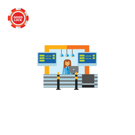 standing reception: Female character wearing uniform standing at airport reception. Reception at airport, flight check-in, service. Reception at airport concept. Can be used for topics like airport, travelling, service