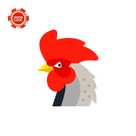 Rooster head with big red crest. Colorful, beautiful, bird. Rooster concept. Can be used for topics like zoology, domestic animals, astrology. Ilustracja