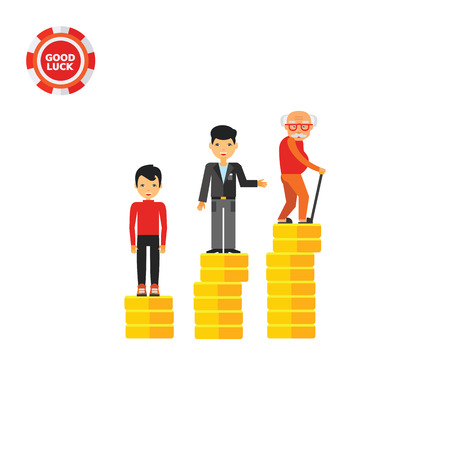 Three rising stacks of coins with increasing age people on their tops. Wealth, savings, pension. Retirement money plan concept. Can be used for topics like finance, business, banking.