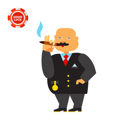 sociology: Fat male character with gold chain watch smoking cigar. Money, pride, luxury. Wealth concept. Can be used for topics like sociology, marketing, business.