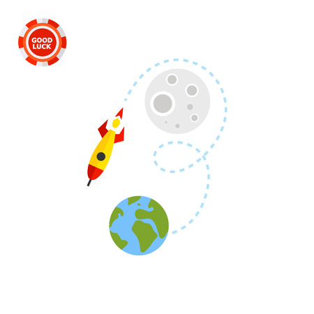 returning: Illustration of rocket flying from earth to moon and returning back. Space, universe, space exploration. Space concept. Can be used for topics like space, startup, space exploration Illustration