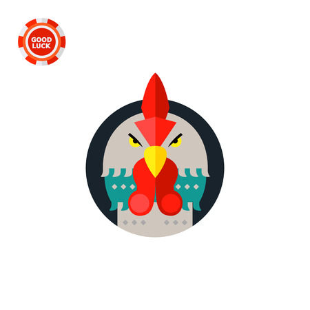 zoology: Grey rooster head with red crest in black circle. Angry, beak, front view. Rooster concept. Can be used for topics like zoology, domestic animals, astrology.