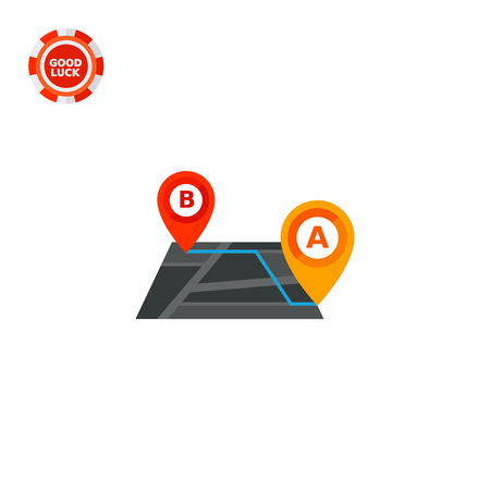 the topics: Map with route and map pointers. Navigation, itinerary, distance. Tourism concept. Can be used for topics like tourism, navigation, technology Illustration