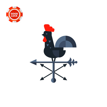 weathervane: Black rooster used as wind vane. Direction, rotation, decoration. Vane concept. Can be used for topics like weather, domestic animals, construction. Illustration
