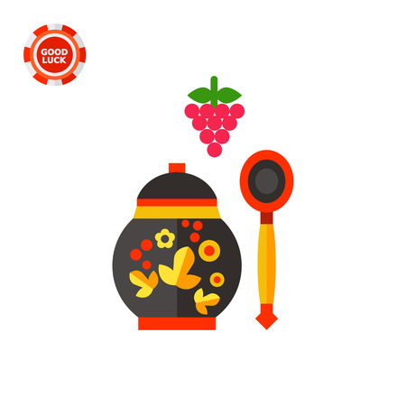 souvenir: Berries bunch, Russian wooden spoon and jar. Khokhloma, jam, souvenir. Russian food concept. Can be used for topics like Russia, culture, cooking.