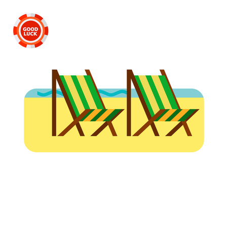 Sandy beach with two deck chairs. Rest, sunbathing, tourism. Beach concept. Can be used for topics like summer, vacation, resorts. Illustration